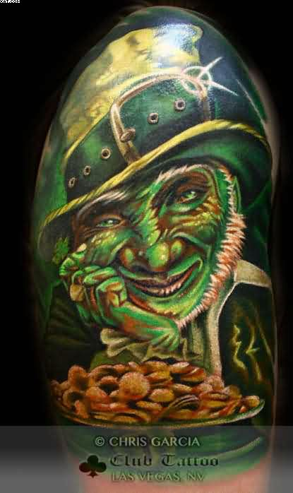 Half Sleeve Leprechaun Tattoo Image