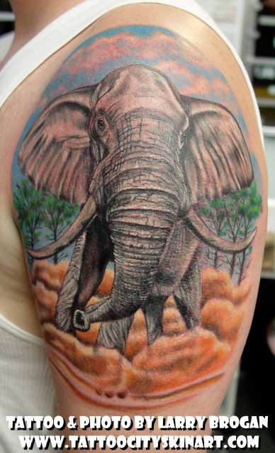 Half Sleeve Wildlife Elephant Tattoo For Men