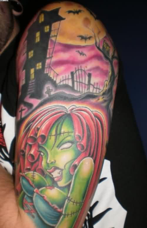 Half Sleeve Zombie Tattoos For Men