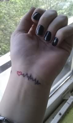 Heart Beat Wrist Tattoo For Girls