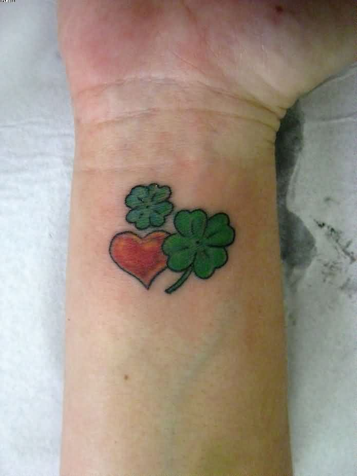 Heart & Clovers Tattoos On Wrist