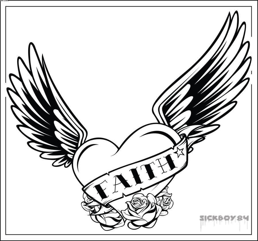 heart with wings tattoo sample
