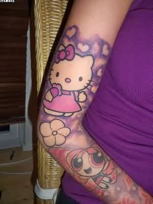 Hello Kitty Arm Tattoos For Women
