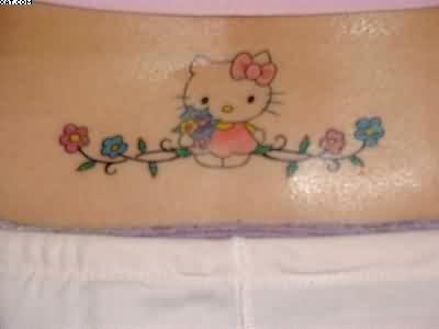 Hello Kitty Tattoo On Lower Back For Women