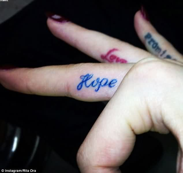 Hope Love Promise Tattoos On Fingers
