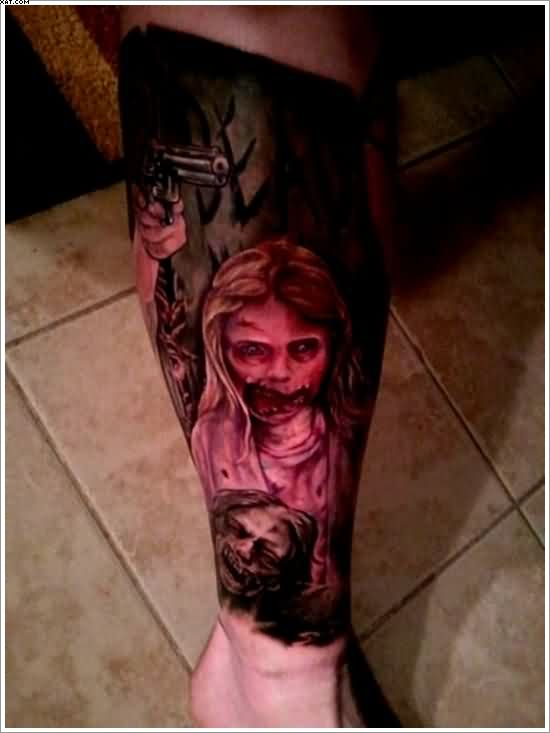 Horror Zombie Tattoos On Leg