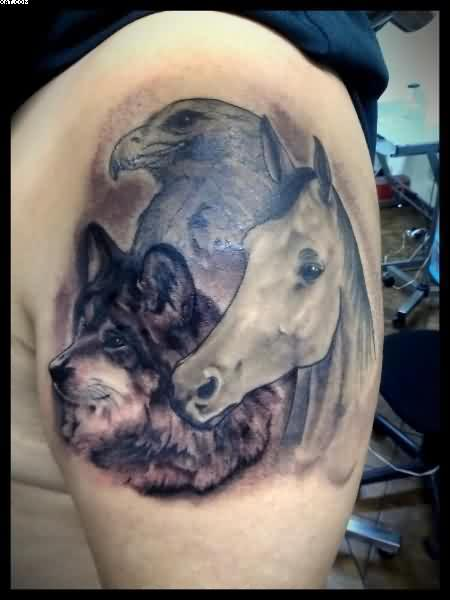 Horse Eagle And Wolf Tattoos On Shoulder