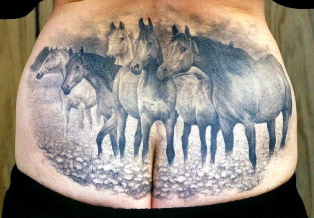 Horses Wildlife Tattoo On Lower Back
