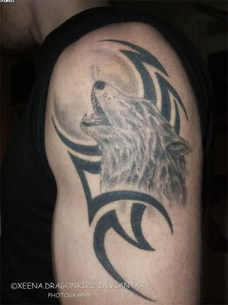 Howling Wolf And Tribal Tattoo On Shoulder