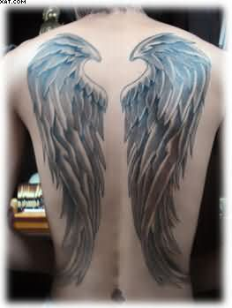 Huge Angel Wings Tattoos On Back Body