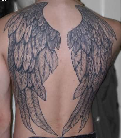 Huge Angel Wings Tattoos On Back For Guys