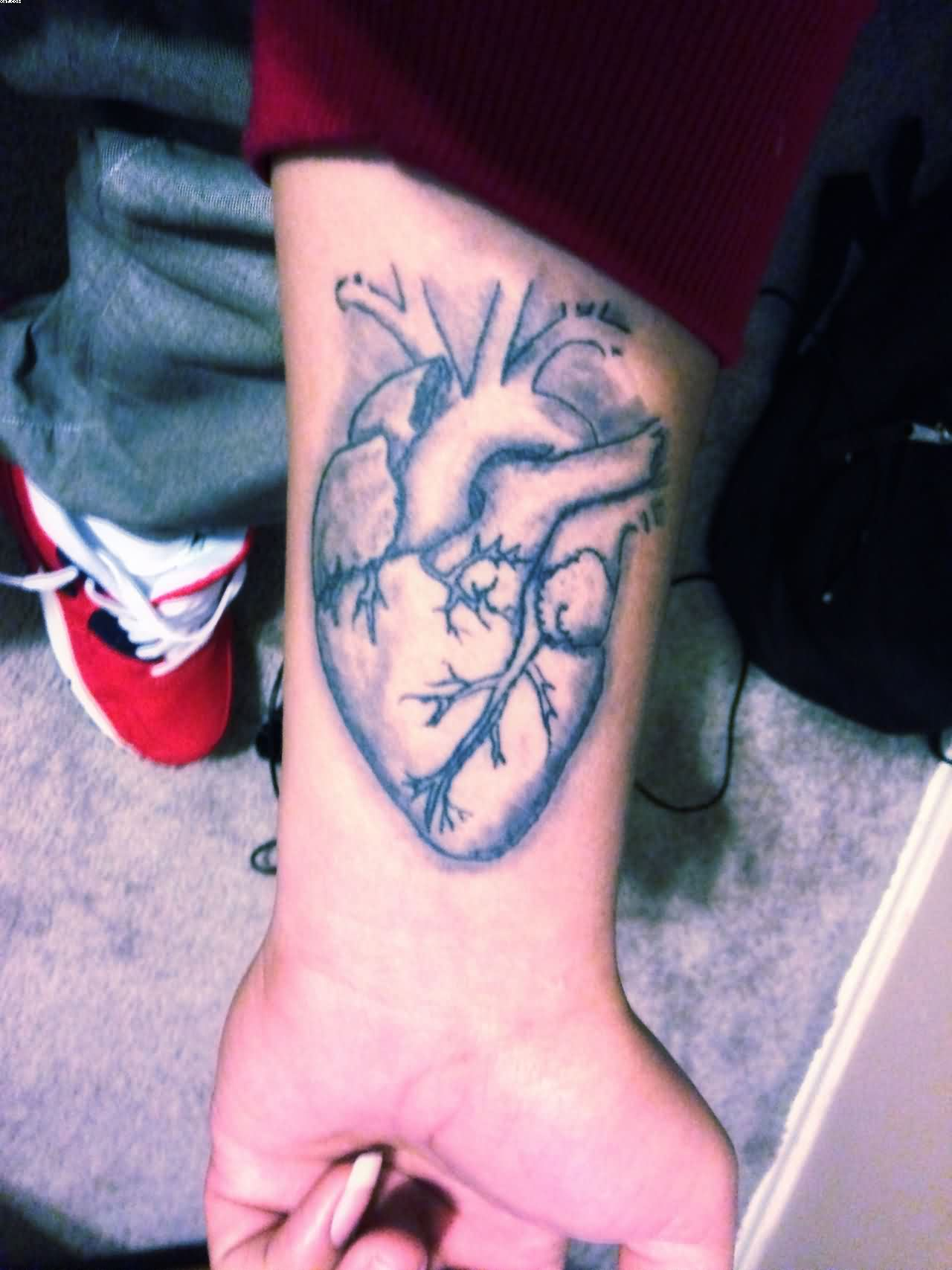 Human Heart Tattoo On The Wrist