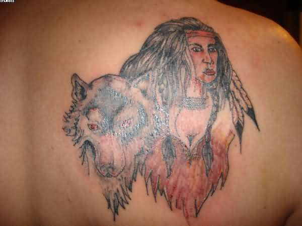 Indian And Wolf Tattoos On Back Shoulder