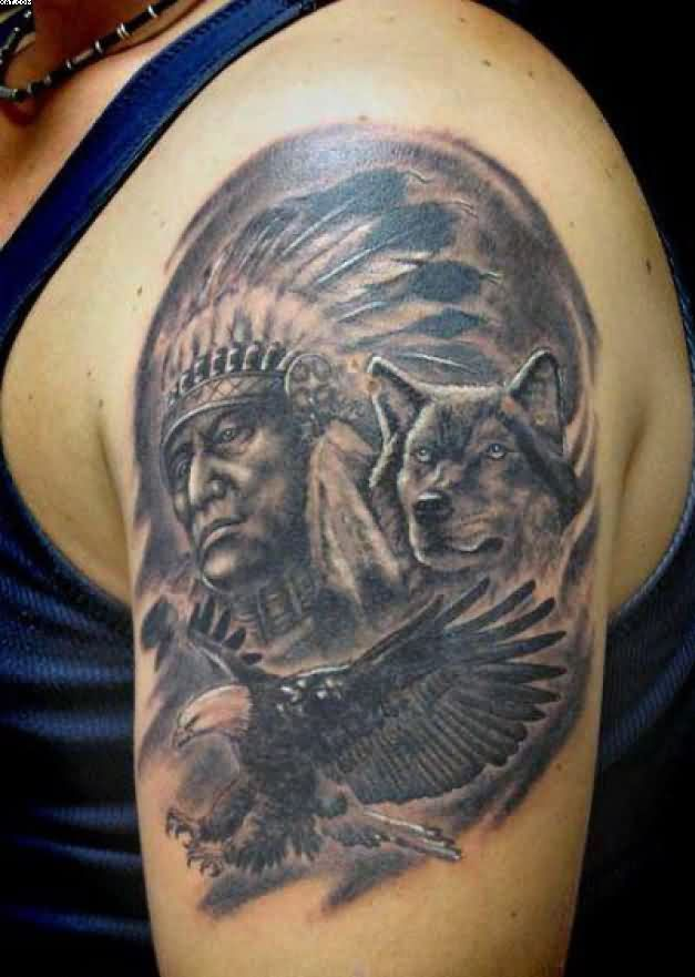 Indian Chief And Wolf Tattoos On Left Shoulder