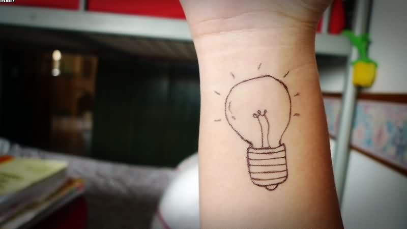 Inner Wrist Of Bulb Outline Tattoo
