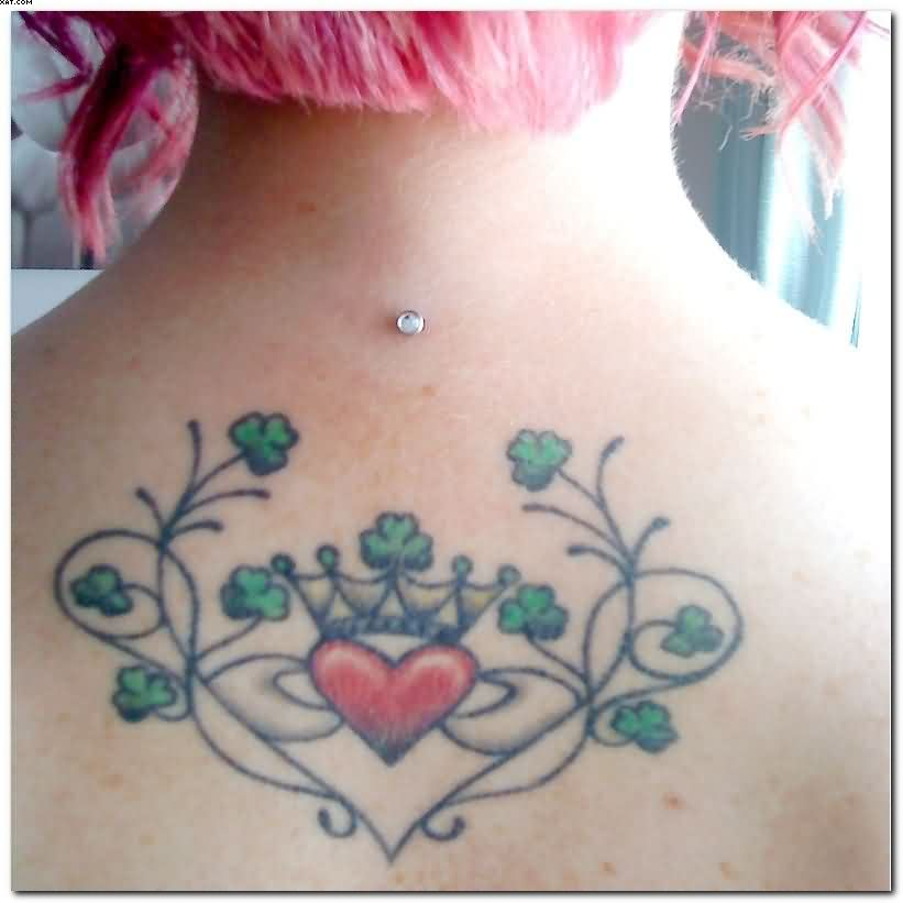 Irish Claddagh Tattoo On Upper Back