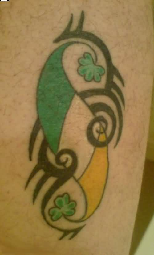 Irish Flag And Tribal Tattoo