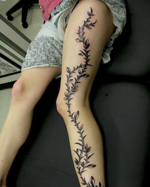 Ivy Vine Tattoo On Left Leg