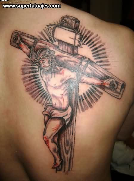 Jesus Cross Tattoo On Back Of Shoulder