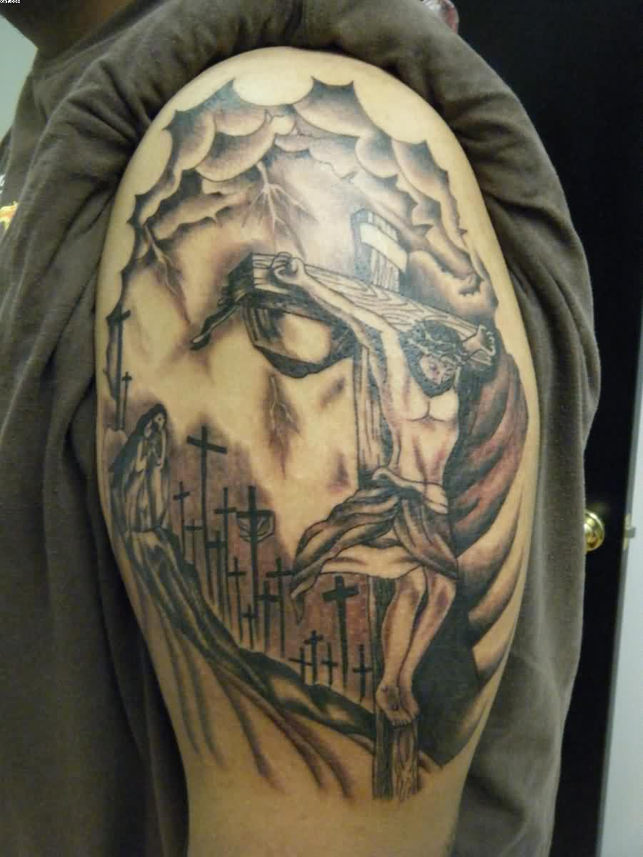 Jesus Cross Tattoo On Biceps