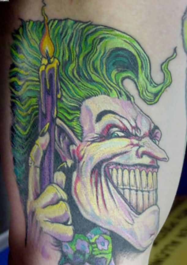 Joker With Candle Tattoo