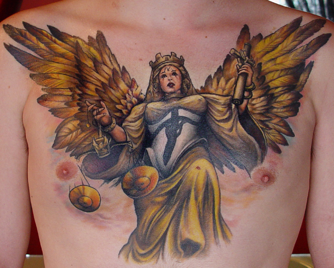 Justice Lady Chest Piece Tattoo For Men