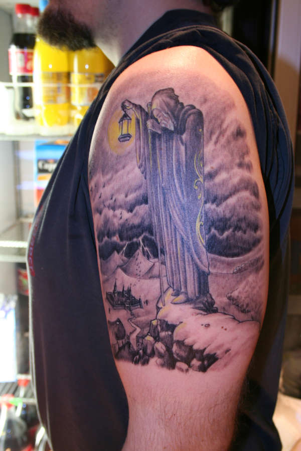 Led Zeppelin Wizard Tattoo On Biceps