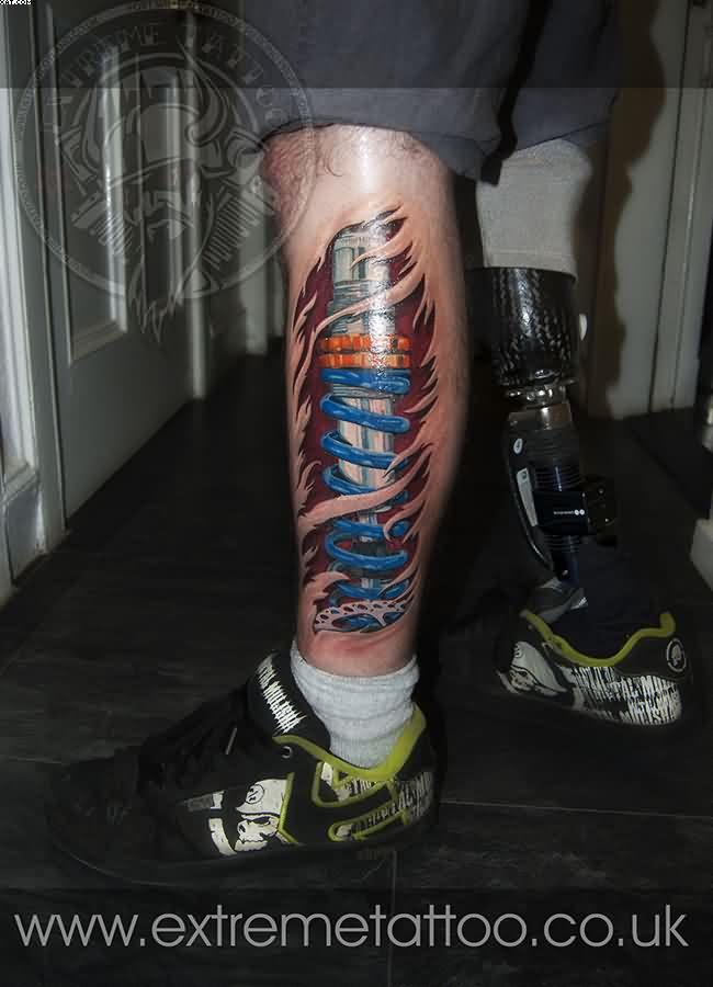 Left Leg Biomech Shocker Leg Tattoo