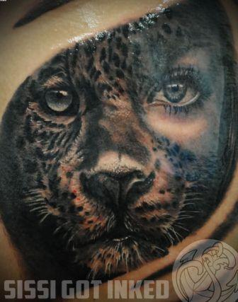 Leopard Face Close Up Tattoo