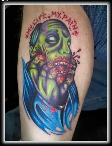 Life Pain Zombie Tattoo