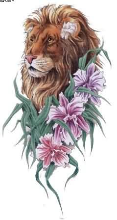 Lion With Flowers Tattoo Design