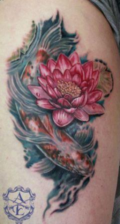 Lotus Flower With Koi Fish Tattoo