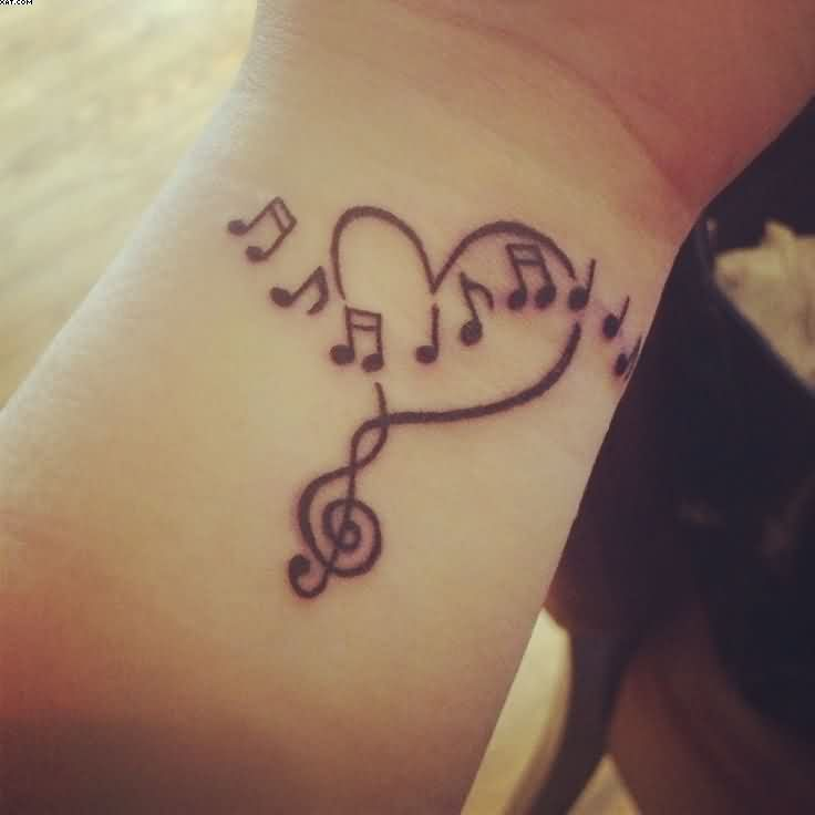 Love Heart And Music Notes Tattoos On Wrist