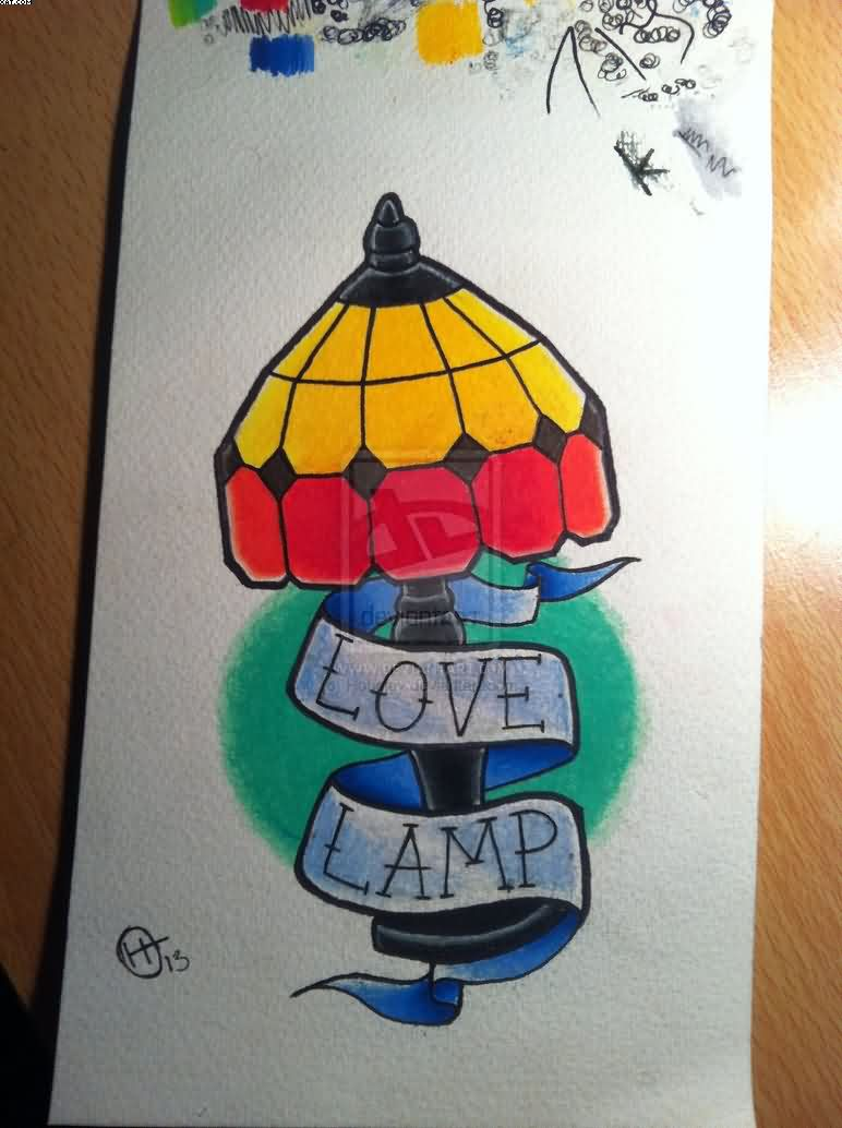 Love Lamp Tattoo Design