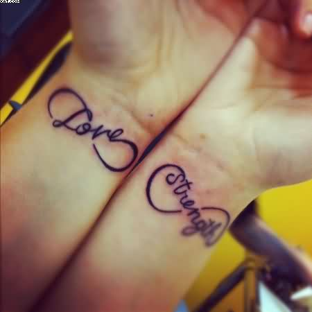 Love Strength Infinity Tattoos For Women