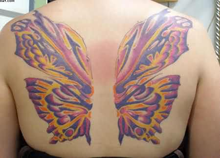 Lovely Butterfly Wings Tattoos On The Back