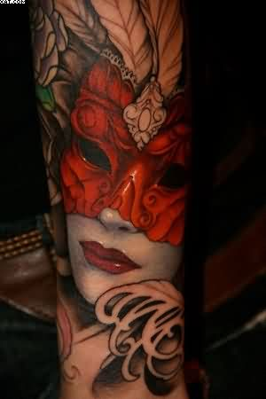 Lovely Girl Mask Tattoo On Arm