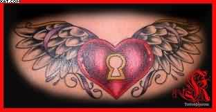Lovely Heart Lock With Wings Tattoo Design