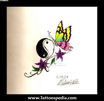 Lovely Yin Yang Butterfly Tattoo Photo