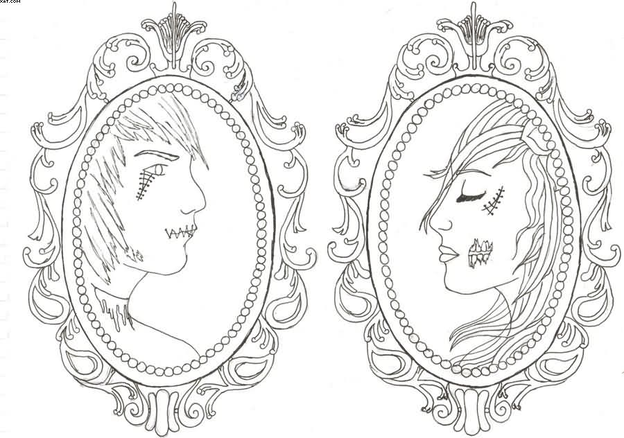 Matching Zombie Cameo Tattoo Designs
