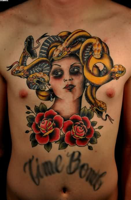 Medusa And Roses Tattoos On Front Of Body