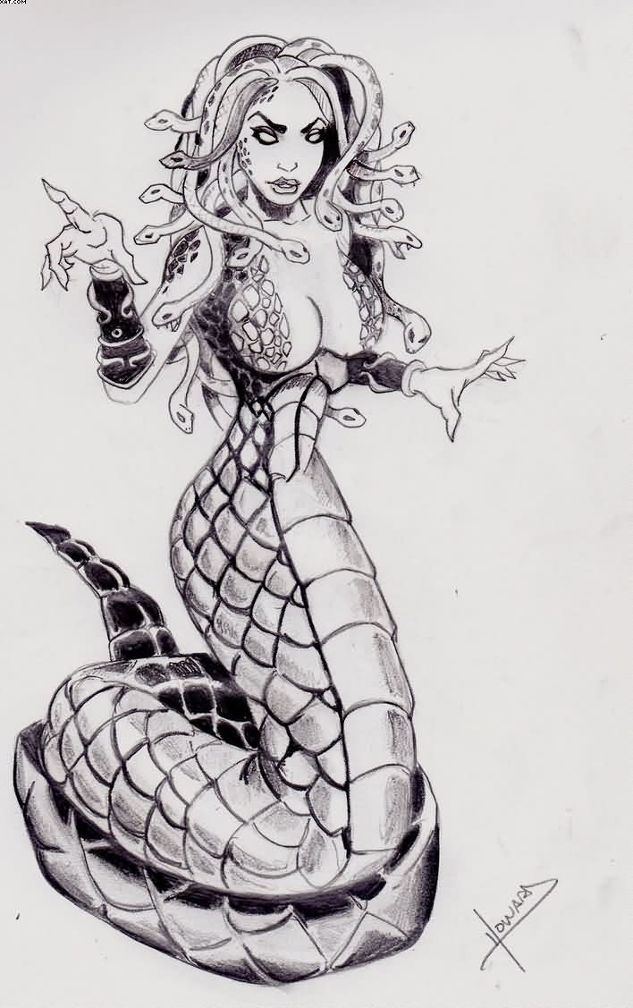 Medusa Mermaid Tattoo Flash