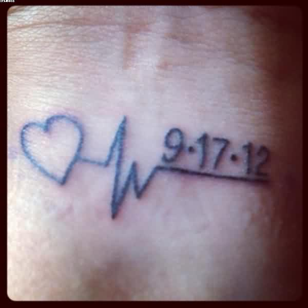 Memorial Heart Beat Tattoo On Wrist