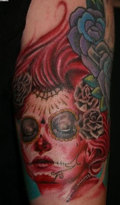 Mexican Zombie Woman Head Tattoo
