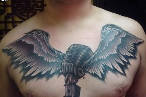 Mic And Wings Tattoos On Chest