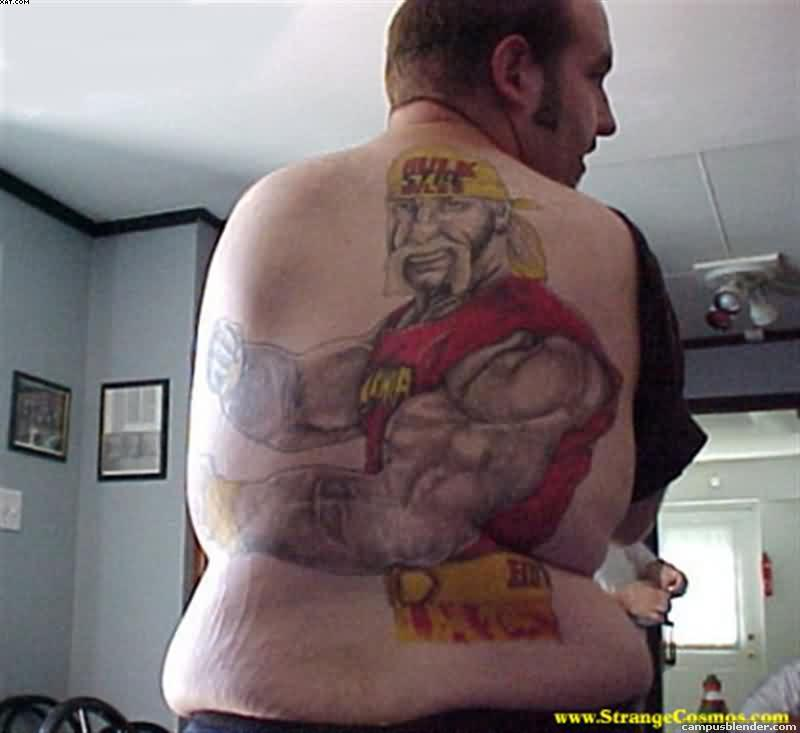 Muscular Wizard Tattoo On Back Body