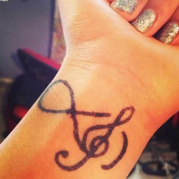 Music Note Infinity Tattoo On Wrist