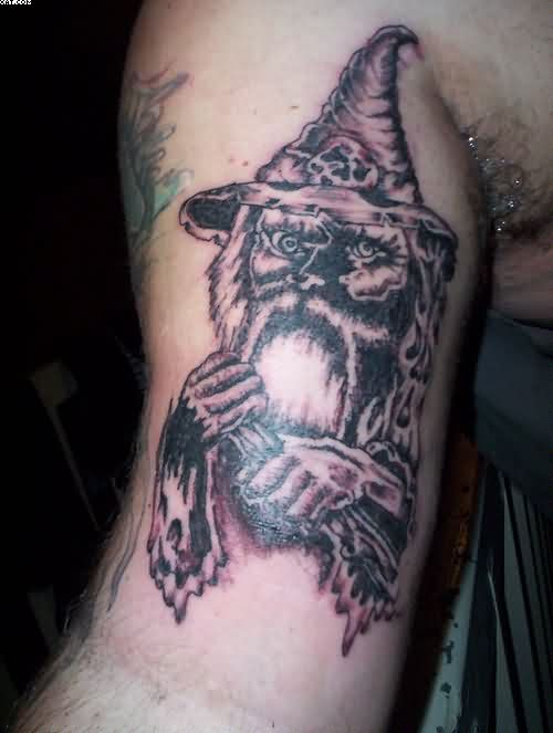 Mythical Wizard Tattoo On Muscles