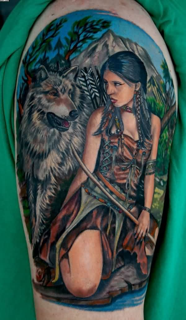 Native American Indian Girl With Wolf Tattoo