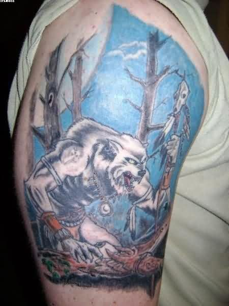 Native American Wolf Tattoo On Biceps